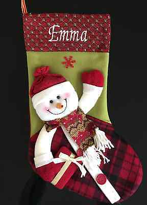 Luxury Personalised 3D Christmas Stocking  - Snowman  Free Embroidery This Week