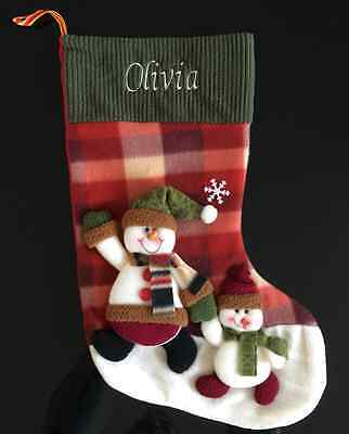 Luxury Personalised 3D Christmas Stocking  - Snowmen With Hats Free Embroidery