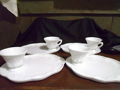 """Vintage Snack Plate & Punch Cup Sets by Colony--""""HARVEST""""  Milk Glass-Four Sets"""