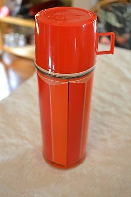 Vintage 1974 Red Stripe Metal King Seeley Thermos Glass Bottle