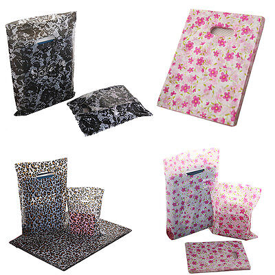 Pack of 100 Plastic Bags Pattern Printed Strong Gift shopping Carrier Bags
