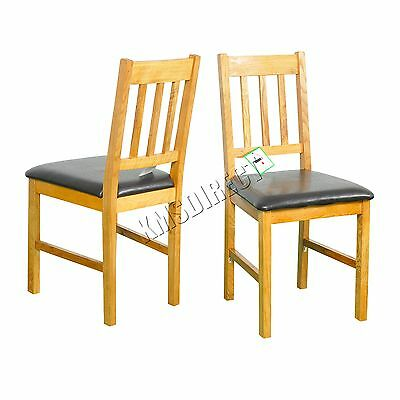 FoxHunter 2X Solid Wooden Oak Dining Chair Set With PU Leather Kitchen FH-OF01