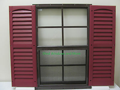 18 x 27 Shed Window Brown Flush + Shutters Playhouse Storage Shed Chicken Coop