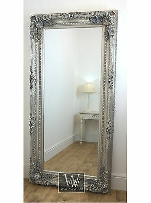 """Chelsea Silver Ornate Leaner Antique Floor Mirror 72"""" x 36"""" X Large"""