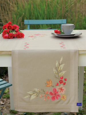 Vervaco Pink Flowers Table Runner Embroidery Kit