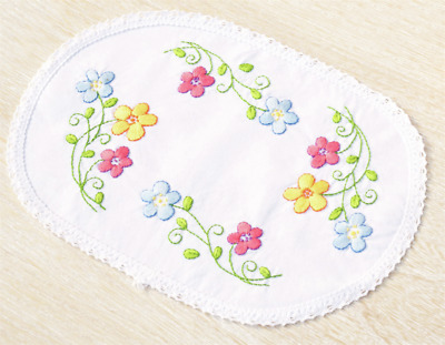 Vervaco Colourful Flowers Doily Embroidery Kit
