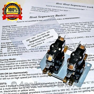 4 pole electric heat sequencer fan relay mobile home furnace 901076 nordyne 3120a3571 coleman furnace 4 stage heat sequencer instructions