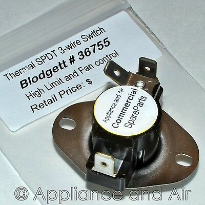 Blodgett 36755 -  OEM Thermal SPDT 3 Wire Limit Switch + Instructions