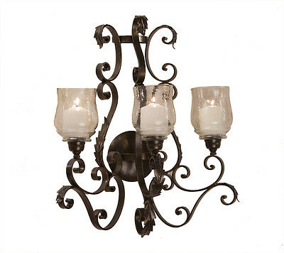 Tuscan French Antique Bronze Acanthus Leaf Hurricane Wall Candle Sconce Large