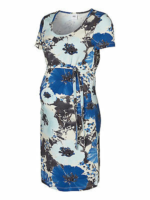 Mamalicious Maternity Blue Flower Print 'millaura' Dress All Sizes Bnwt Rrp £28