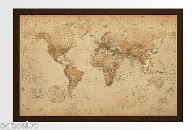 FRAMED MAXI SIZE WORLD MAP 91.5 x 61cm ANTIQUE STYLE POSTER WALL NEW GREAT GIFT