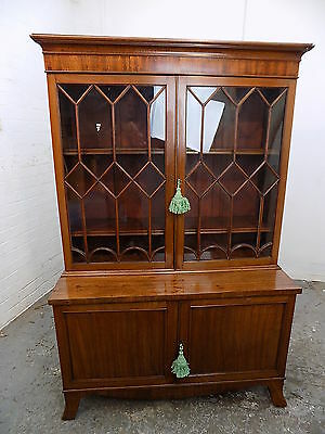 small,mahogany,bookcase,cupboard,splayed legs,glazed doors,antique,1900,low