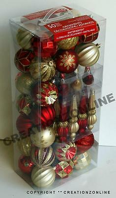 50 Pcs Christmas Xmas Shatter Resistant Ornaments Gold Wreath Decoration Tree