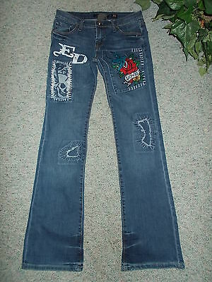 Hard-To-Find Authentic 2-Sided Designer Ed Hardy! Jeans Unique Fabulous! Size 28
