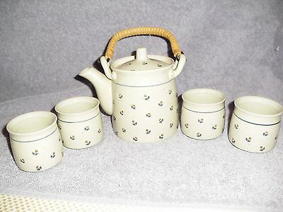 Japan Hand Crafted Bamboo Handle Tea Set W/ 4 Matching Cups