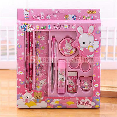 9pcs Stationary Set Children's Gift Pencil Sharpener Ballpoint Pen Eraser Ruler