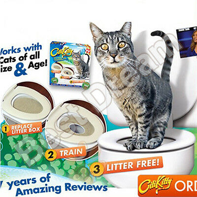 Easy learn Cat Kitty Toilet Training Kit System Potty Litter Tray Free Nip Pet