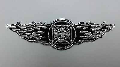 "1 PC SMALL SIZE IRON CROSS/WINGS biker Emb patch,  L.4-1/8"" sew/iron-on"