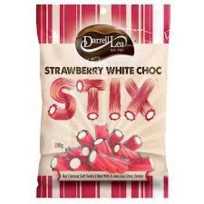 Darrell Lea Stix Strawberry /White Choc 200g
