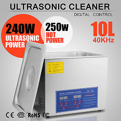 10L 10 L Ultrasonic Cleaner 490w Glasses Cleaning Heater Mechanical Commercial