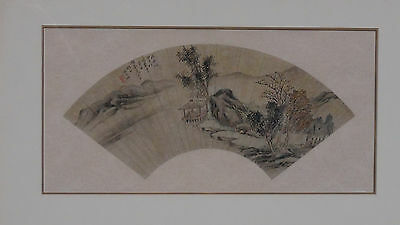 ANTIQUE 18c CHINESE POLICHROME INK ON PAPER FAN PAINTING  LANDSCAPE WITH TEMPLE
