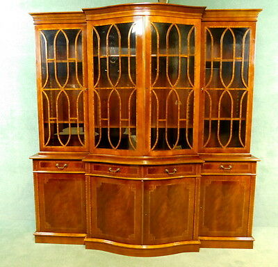 Large Serpentine Fronted Inlaid Mahogany Four Door Bookcase