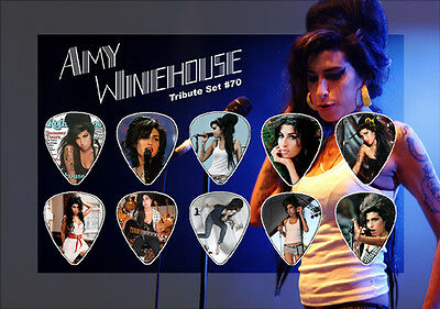 Amy Winehouse guitar picks on photo display LIMITED