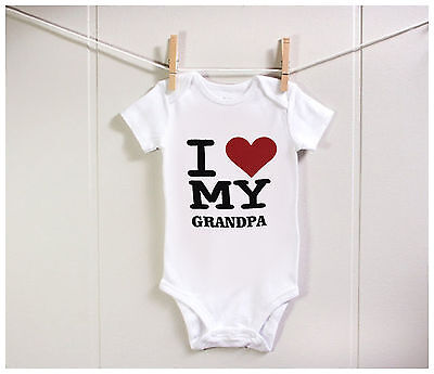 BABY Romper I Love my Grandpa Bodysuit Cute Funny Gift Mum Dad Aunty Uncle