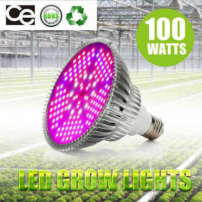 4pcs 28W E27 LED Plant Grow Light Bulb Full Spectrum Hydroponic Red Blue UV IR