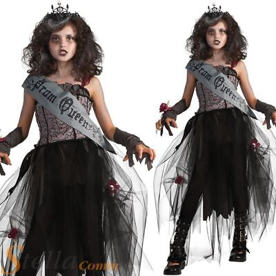 Girls Gothic Prom Queen Zombie Halloween Fancy Dress Childs Kids Costume Outfit
