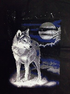 NEW completed finished cross stitch Lone Wolf US FREE SHIPPING