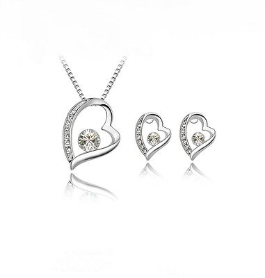 Women's Silver Filled Rhinestone Studded Heart Necklace And Earring Set Gift UK