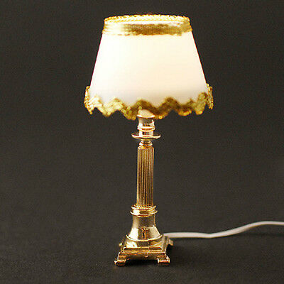 Dolls House Table Lamp with White Shade & Gold Trim  in  12th scale