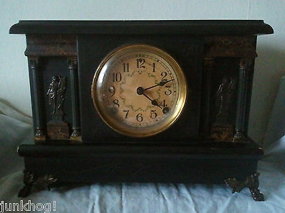 Antique Sessions Clock Co. 8 Day Half Hour Strike Mantle Clock WORKING WITH KEY