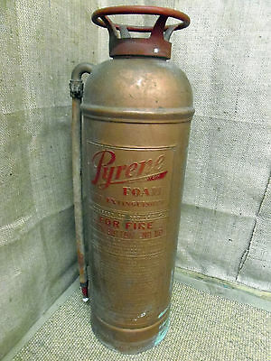Vintage copper Fire Extinguisher, upright, American, Pyrene foam, with hose