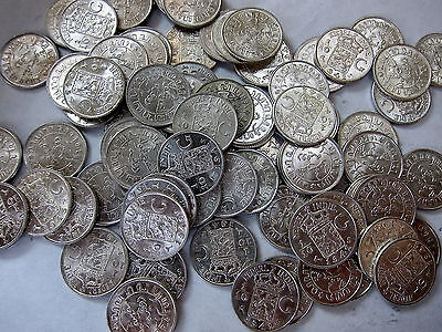 Lot of 12 East Indies silver 1/10 Gulden Wilhelmina 1937-1945. UNC Free Shipping