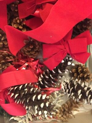 Unfinished Christmas Craft Project With Ribbon And Pine Cones