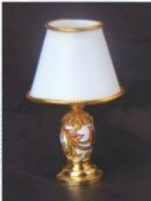 Dolls House Table Lamp with White Shade & Leaf Patterned Base  in 12th scale