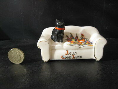 Vintage Carlton Crested China Black Cat Series Settee Wembley Exhibition 1924