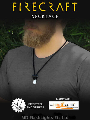 Wazoo Firecraft™ Necklace 550 Firecord Paracord Bushcraft Survival Edc
