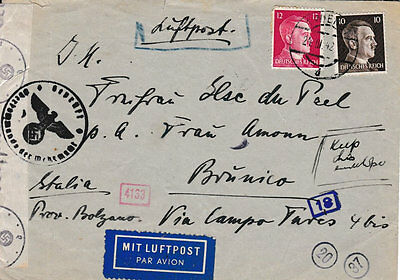 Germany 1942 Censored Airmail Cover to Italy with an array of inspector marks