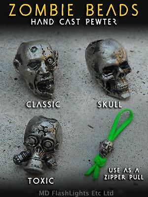 Wazoo Handcast Pewter Zombie Beads Paracord Zipper Pulls Bushcraft Survival Edc