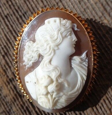"Vintage 10k Solid Yellow Gold Genuine Carved Cameo Brooch Pin 1.5"" 7+g Jewelry"