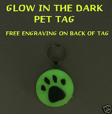 GLOW IN THE DARK Personalized Pet ID tag - Cat-Dog Free Engraving