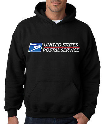 USPS POSTAL BLACK HOODIE Hooded Sweatshirt US Logo Chest United States Service