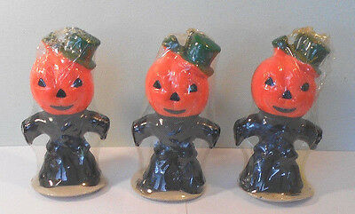 Gurley Halloween Pumpkin Jack o Lantern Scarecrow Candle Unused in PLastic lot 3