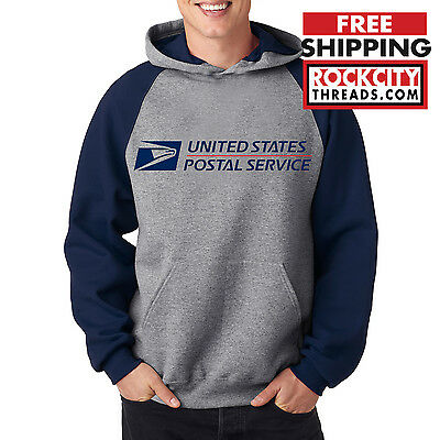 USPS POSTAL RAGLAN HOODIE Hooded Sweatshirt US Logo Chest United States Service
