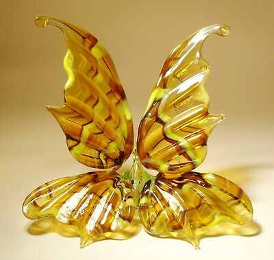 """Blown Glass Figurine """"Murano"""" Art Insect Yellow and Black Striped BUTTERFLY"""
