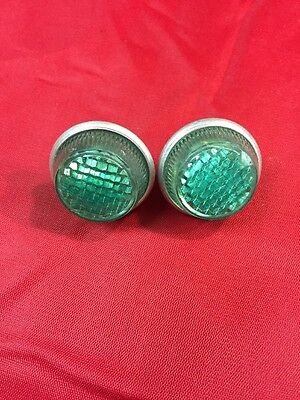Pair Of Round NOS Vintage Bicycle Green Plastic Reflectors License Plate