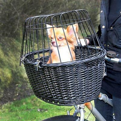Bicycle Basket Bike Pet Front Wicker Handlebars Small Dog Pets Transport Cushion